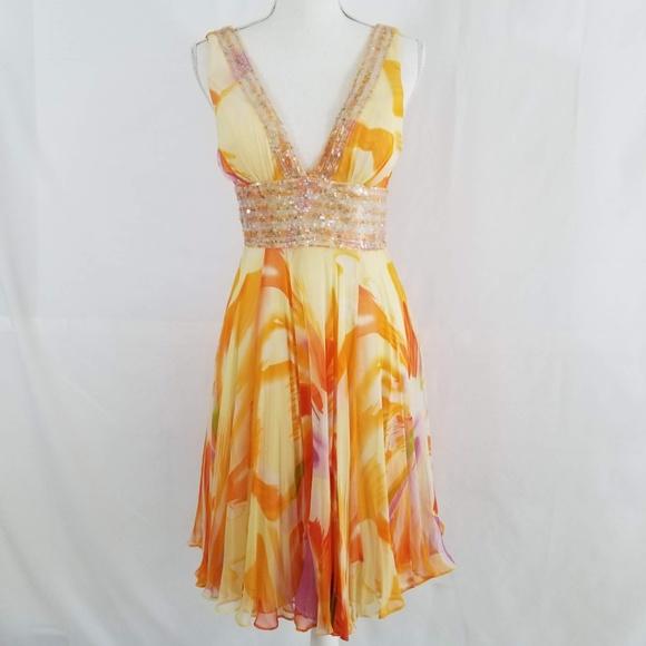 BASIX II Dresses & Skirts - Silk Floral Fit Flare Dress Plunging Neckline Sz 2
